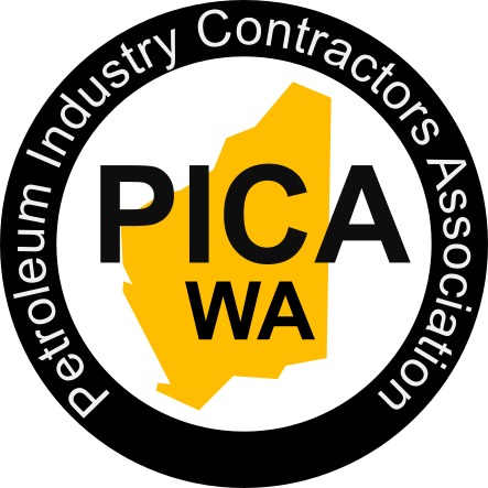 "A yellow outline of Western Australia covered with black text ""PICA WA"" and surrounded by a black ring bearing with white text: ""Petroleum Industry Contractors Association"""