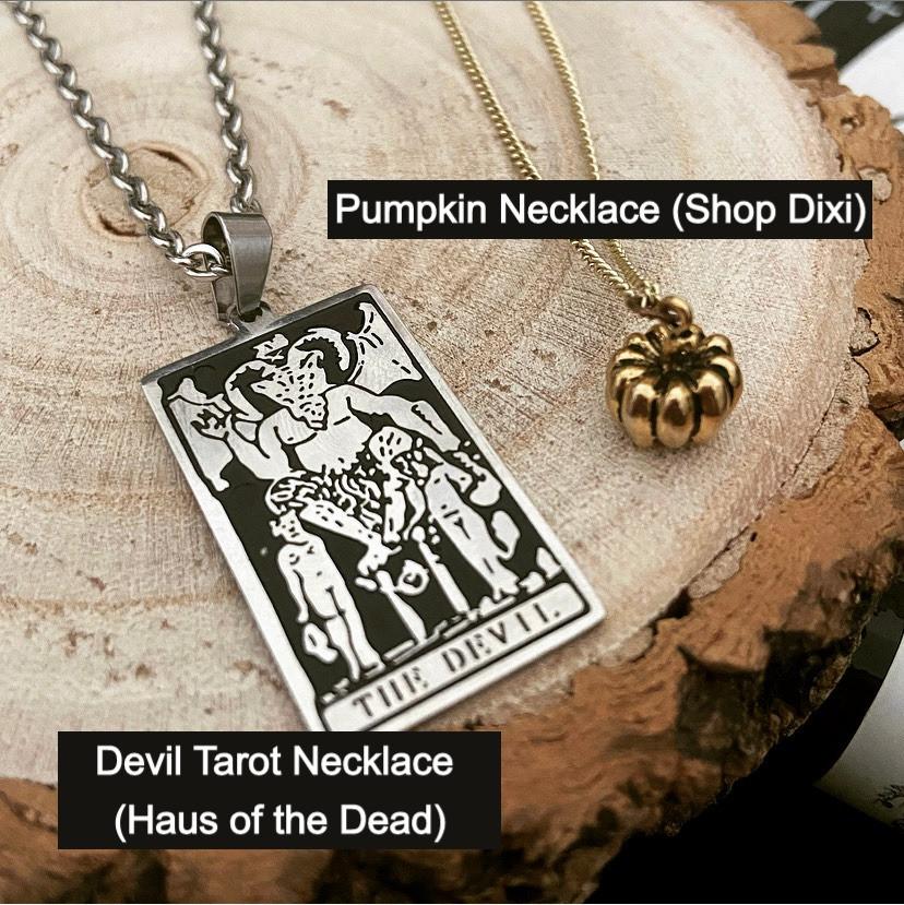 Devil Tarot Necklace (Haus of the Dead) Pumpkin Necklace (Shop Dixi)