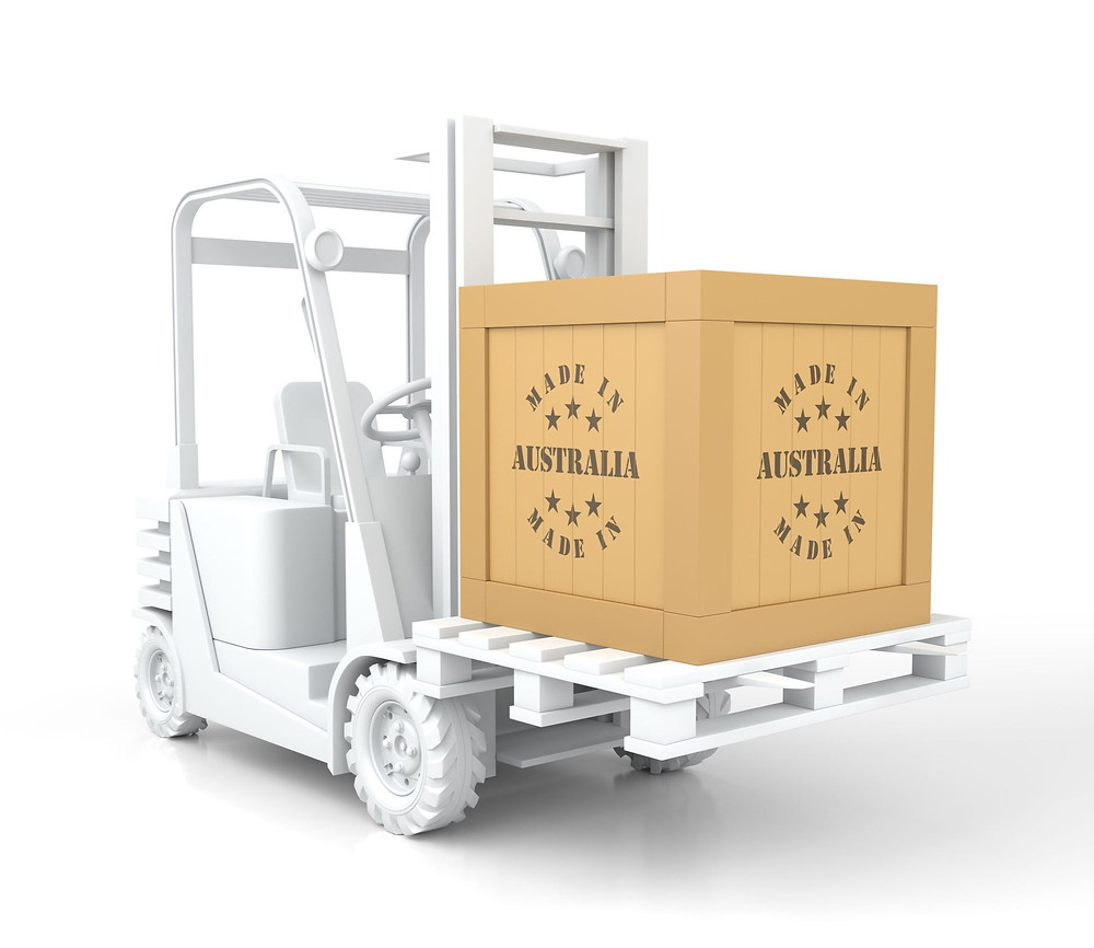 Forklift truck with Made in Australia box