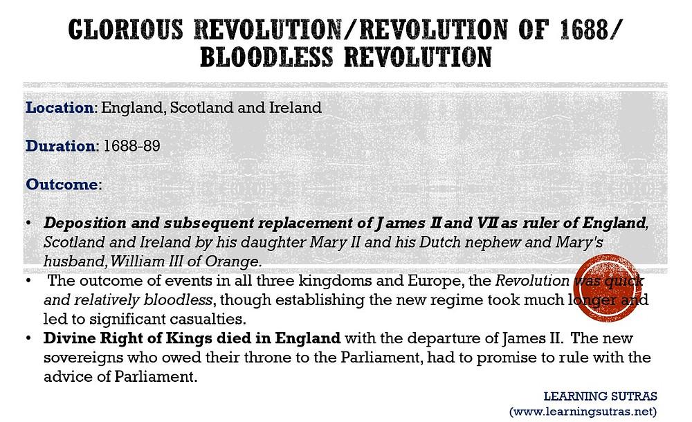 Glorious Revolution - Bloodless Revolution 1688
