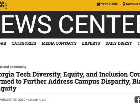 Honored to join Georgia Tech's Diversity, Equity, and Inclusion Council