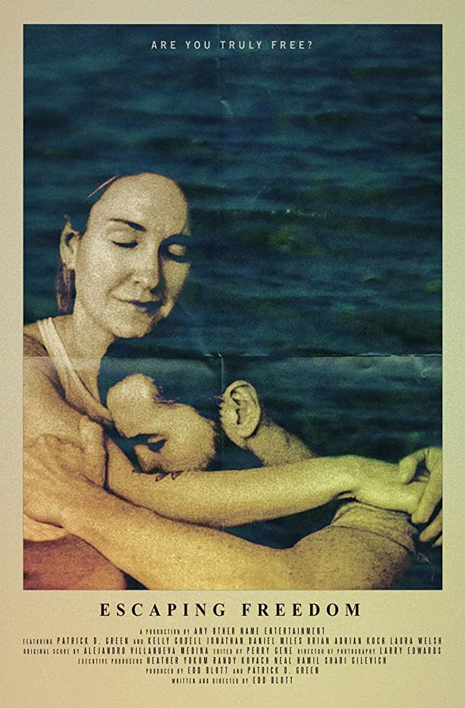Escaping Freedom movie poster featuring a man and a woman in an embrace.