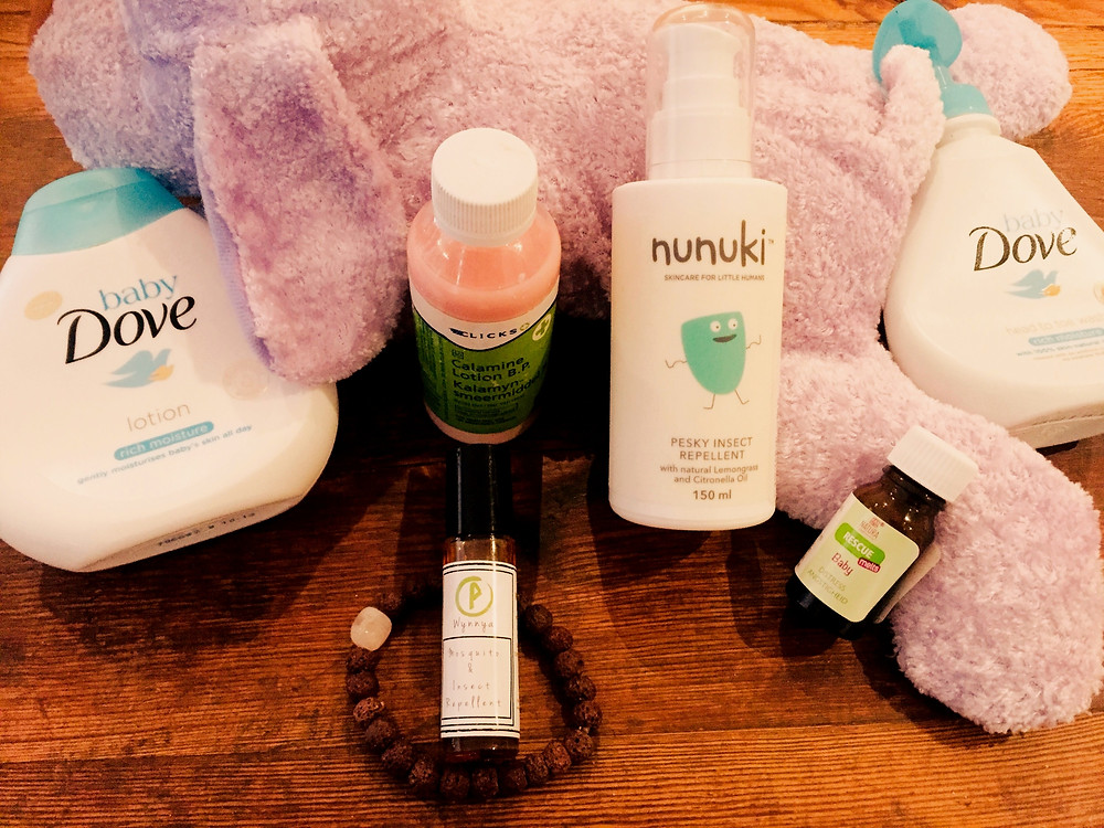 products to pack for children when traveling. Products for sensitive skins, mosquito spray and repellent,