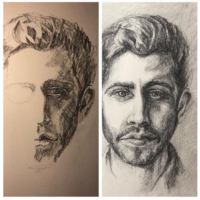 original graphite sketch of a man by Lisa DuBois