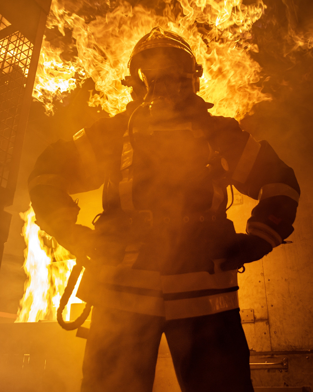 fireman standing in front of a building