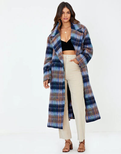 blue checked coat
