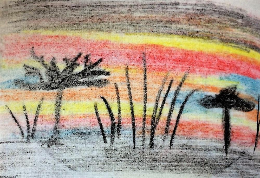 croquis de voyage afrique coucher de soleil