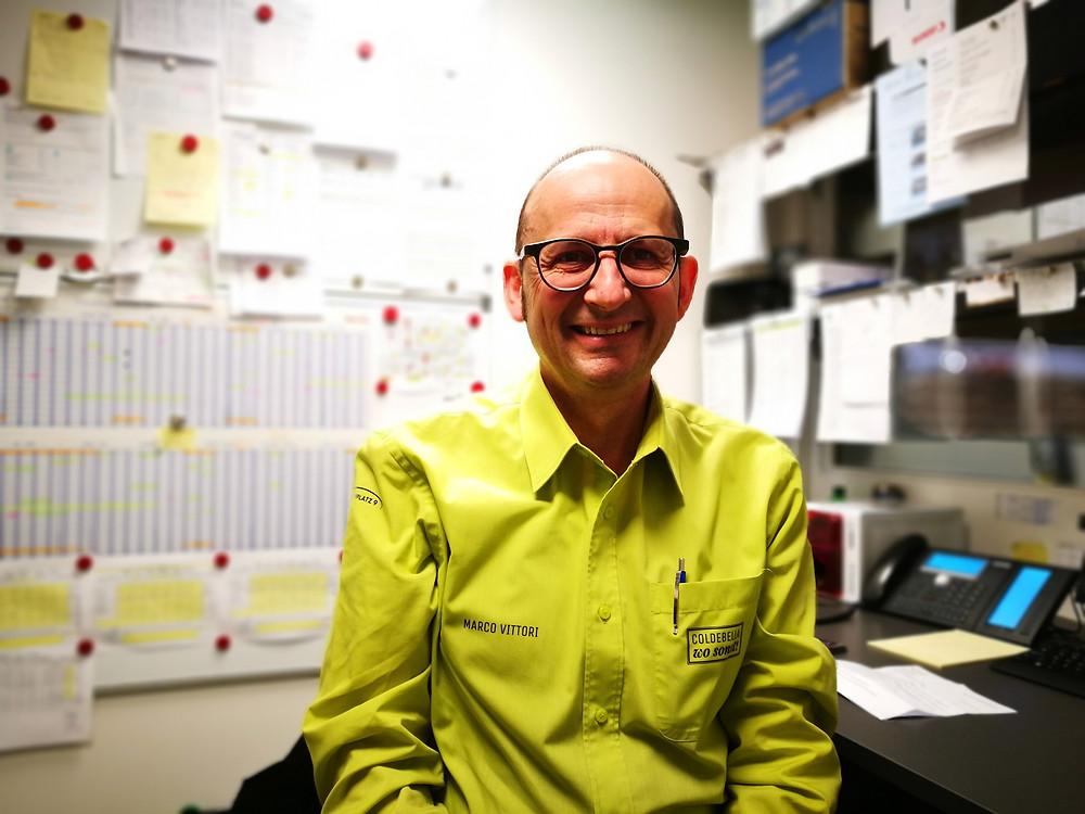 Marco Vittori in der Kommandozentrale des Stanser Gemüsehändlers G. Coldebella AG (evoo.expert)