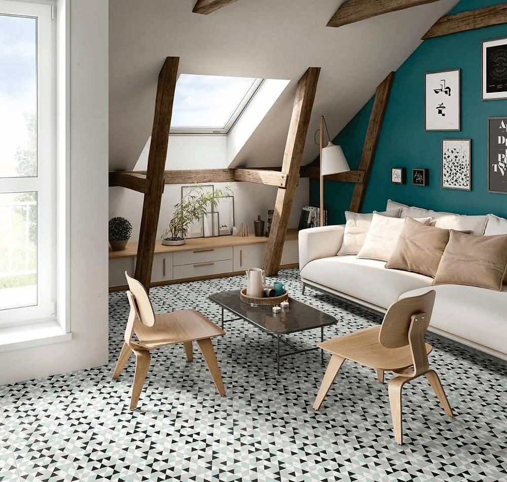 scandi style room, decorative tiles
