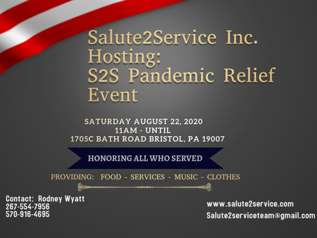Salute 2 Service Holding Pandemic Relief Event 8/22/20