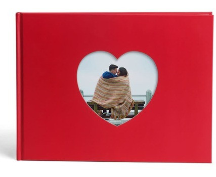 A personalised photo book, used as a wedding guest book