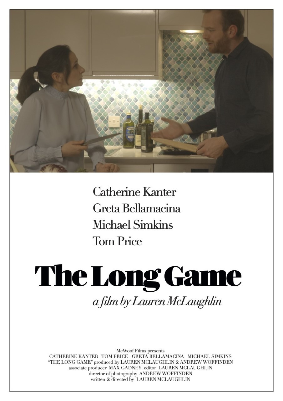 Film Poster for The Long Game showing protagonists Katherine Kanter and Tom Price.
