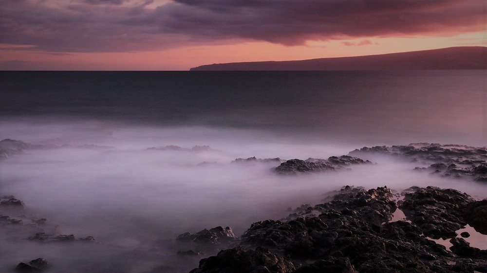 fog shrouds the surf at La Perouse Bay, Maui