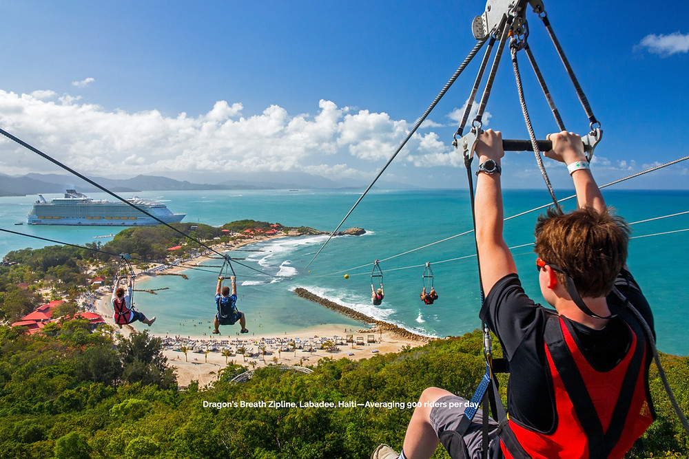 Dragon's Breath Zipline manufactured by Skyline Ziplines in Labadee, Haiti and averaging 900 riders per day