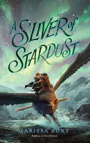 two children riding a giant hawk under the text A SLIVER OF STARDUST