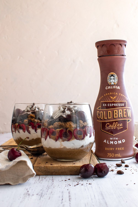 Vegan Tiramisu Trifle with Cherries, califia farms, affluent society, recipe