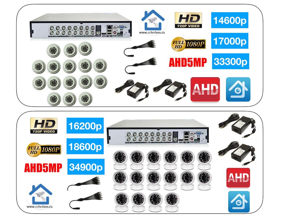 Стоимость комплектов видеонаблюдения на 16 камер