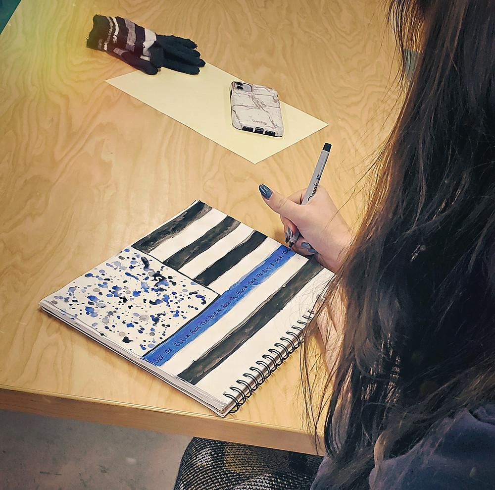 """Back the Blue"" In Process (Gabriella Angelucci)"
