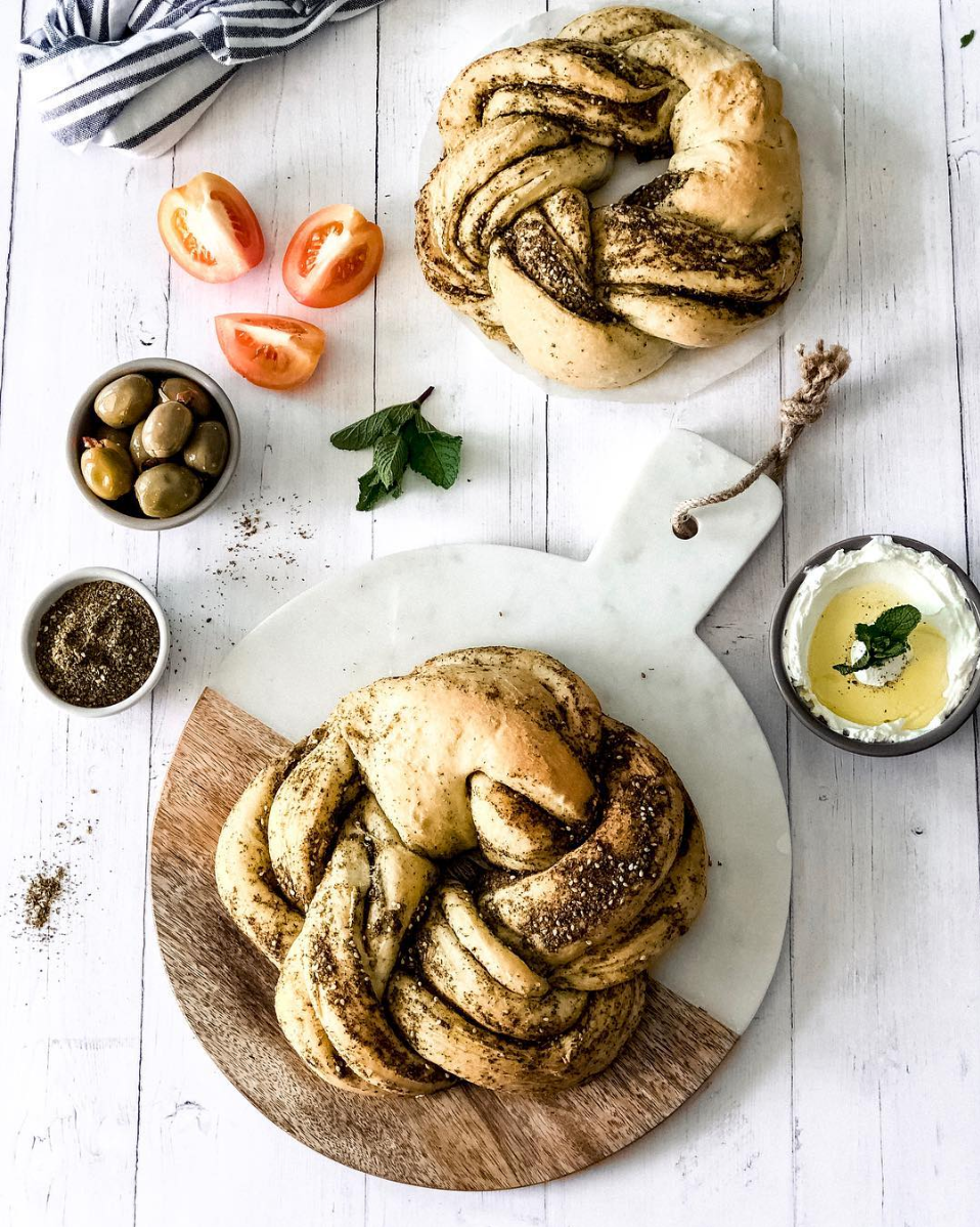 Braided zaatar bread