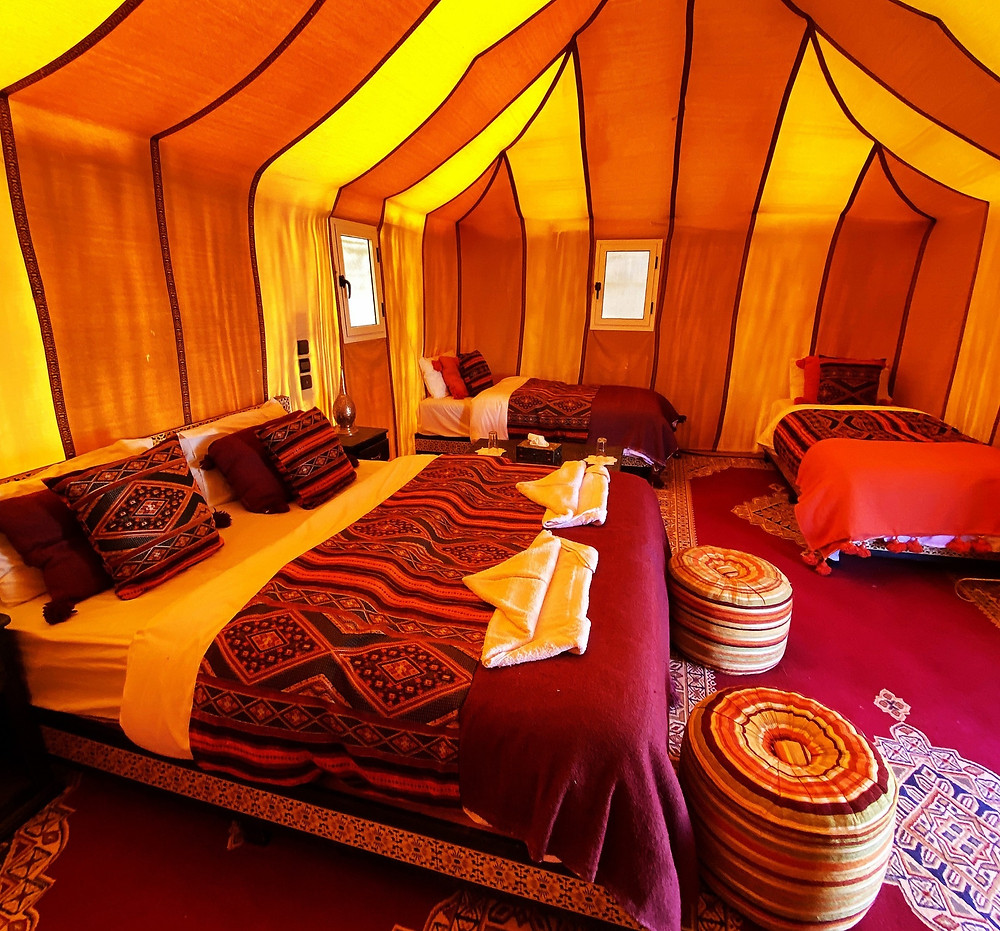 guest room of Merzouga Paradise Luxury Camp, Morocco