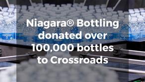 Niagara Bottling Company donates 100,000 bottles of water to CrossRoads
