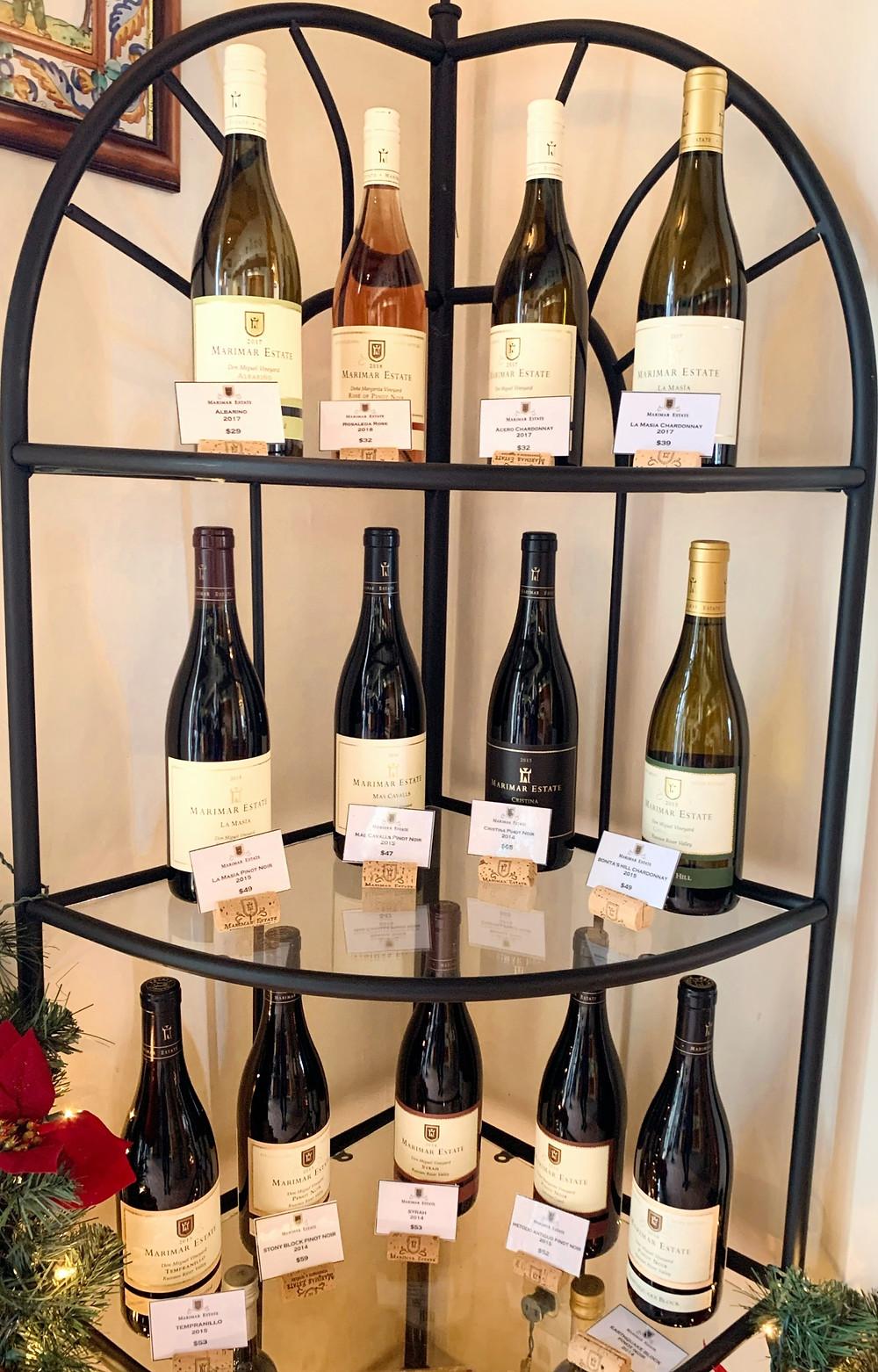 Marimar Estate wines at the Marimar Winery in Sebastopol.  Photo by Blonde Tasting