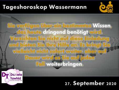 Tageshoroskop Wassermann 27.09.2020