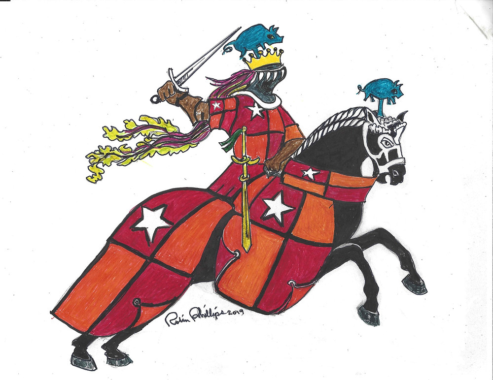 Drawing by Robin Phillips showing a knight on a horse.