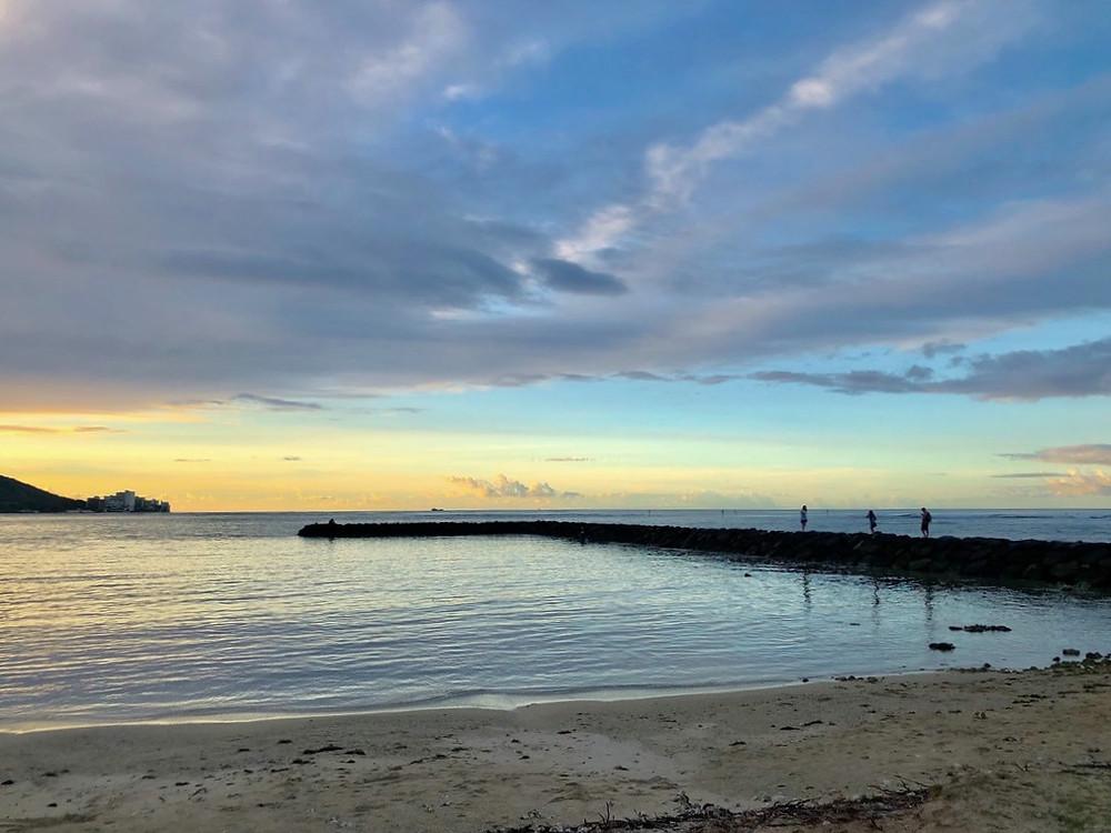 Sunset scene at Waikiki Beach