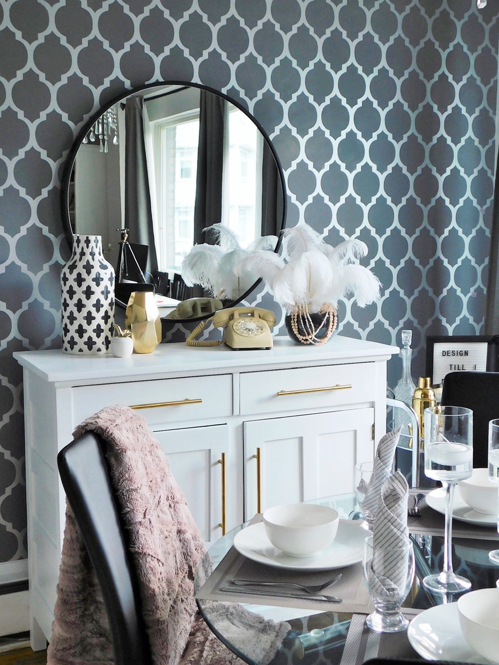How to style a round mirror above a console table