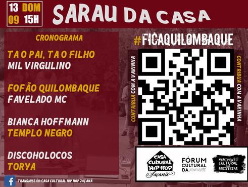 'Sarau da Casa' se mobiliza para apoiar a permanência do Quilombaque