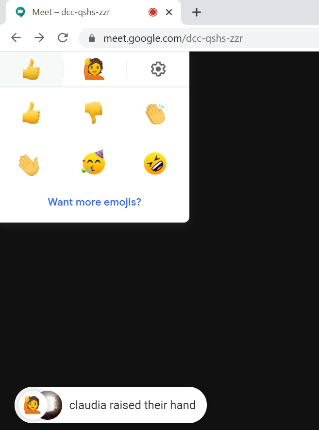 Fun emojis in Google Meet with Nod Reactions extension