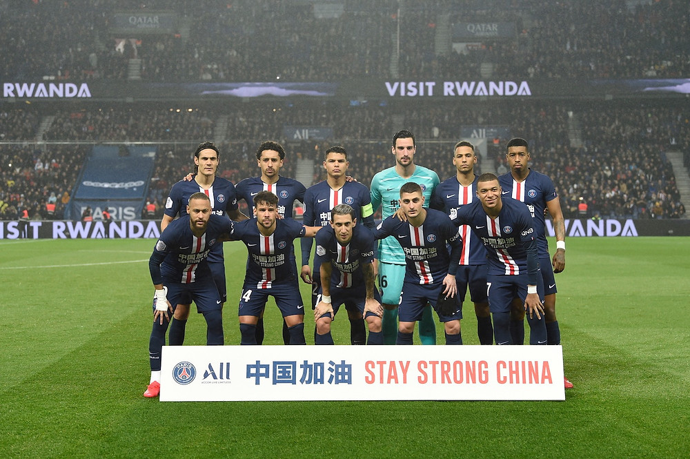 Part Saint-Germain's first team line up before home match against Bordeaux, with 'Stay Strong China' messaging