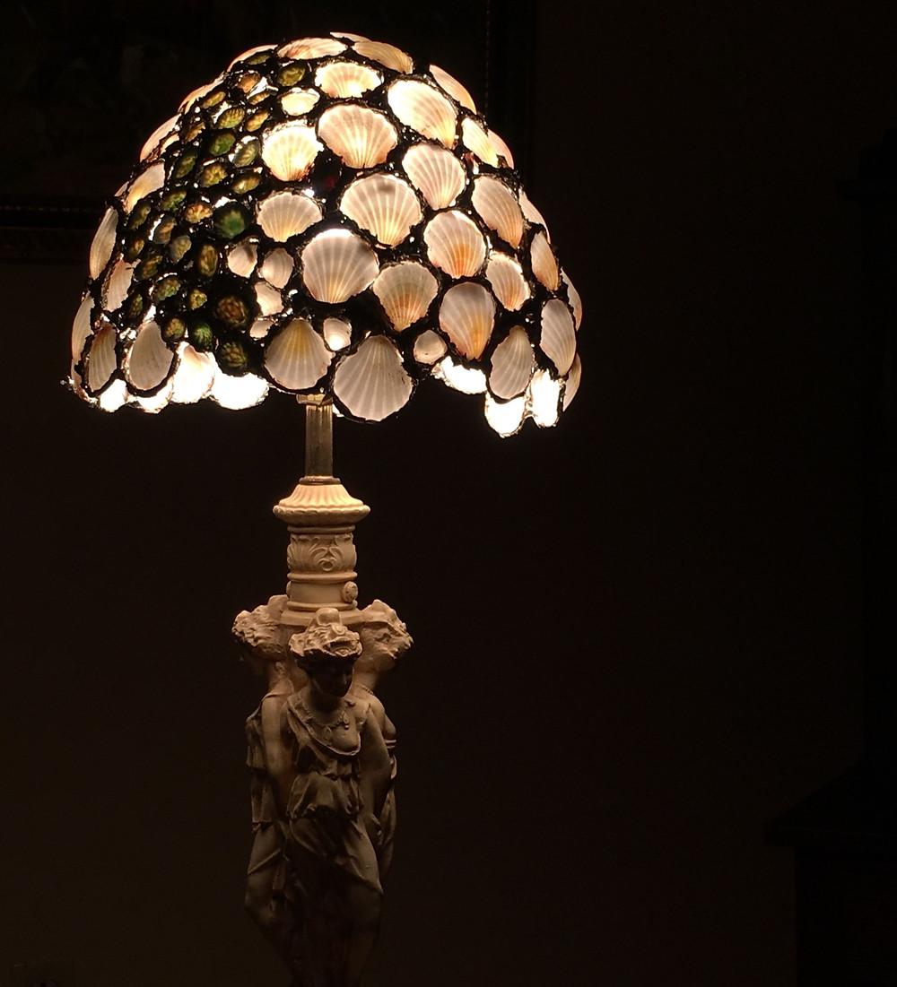 A seashell lampshade