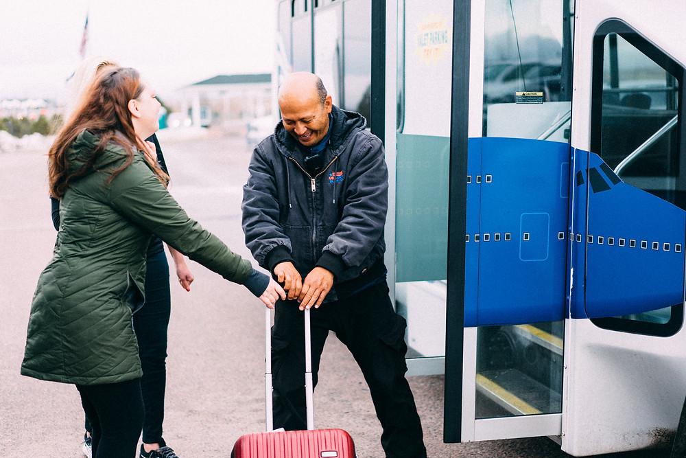 Airport shuttle taking a Drift customer's bags