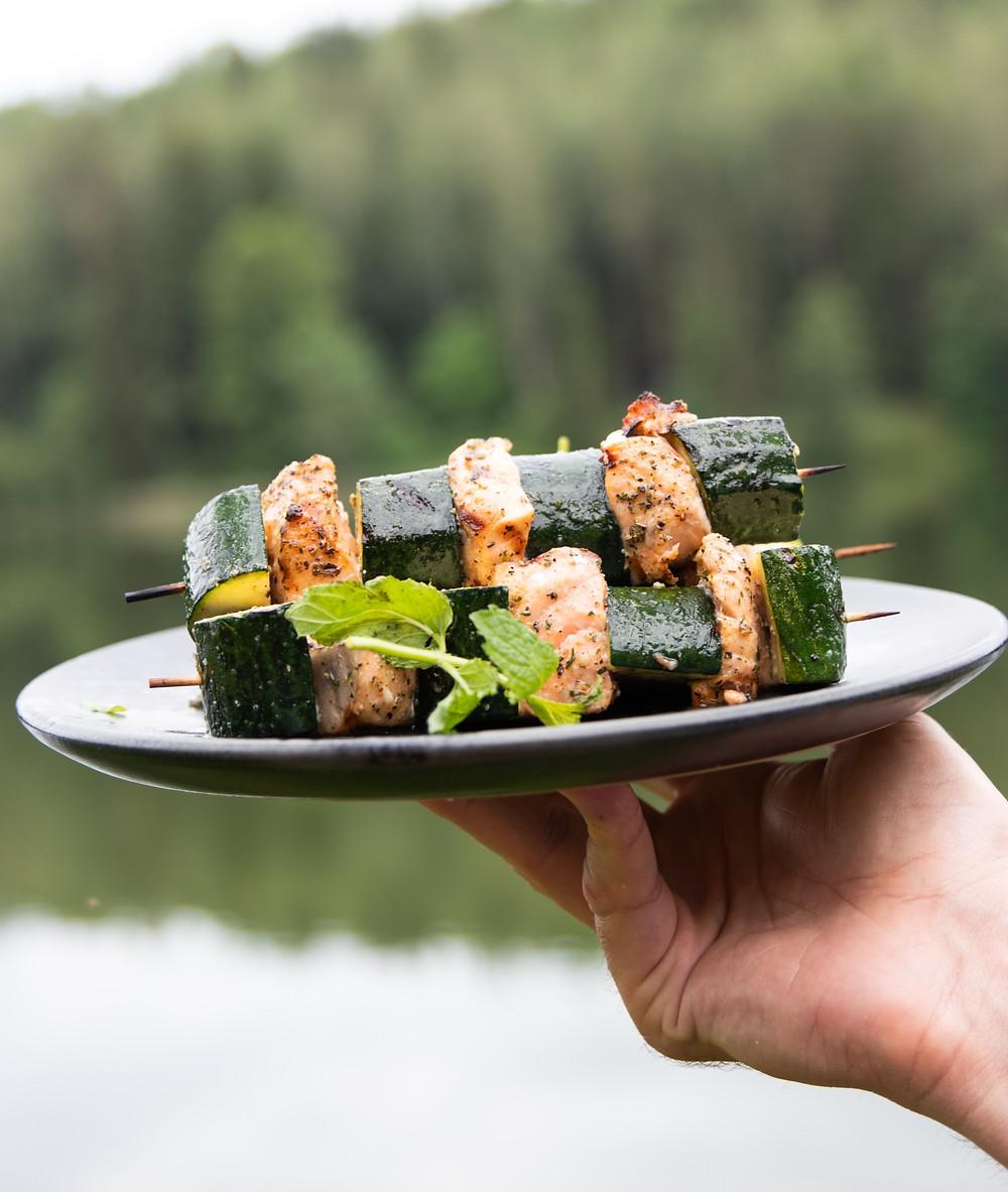 žuvies iešmeliai su cukinijomis, Alfo receptai, grilio patiekalai
