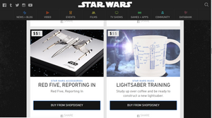Screengrab from Star Wars official online shop