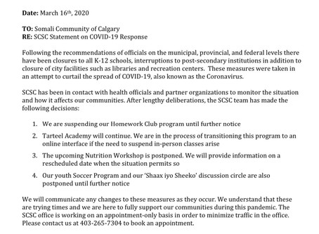SCSC Response to COVID-19