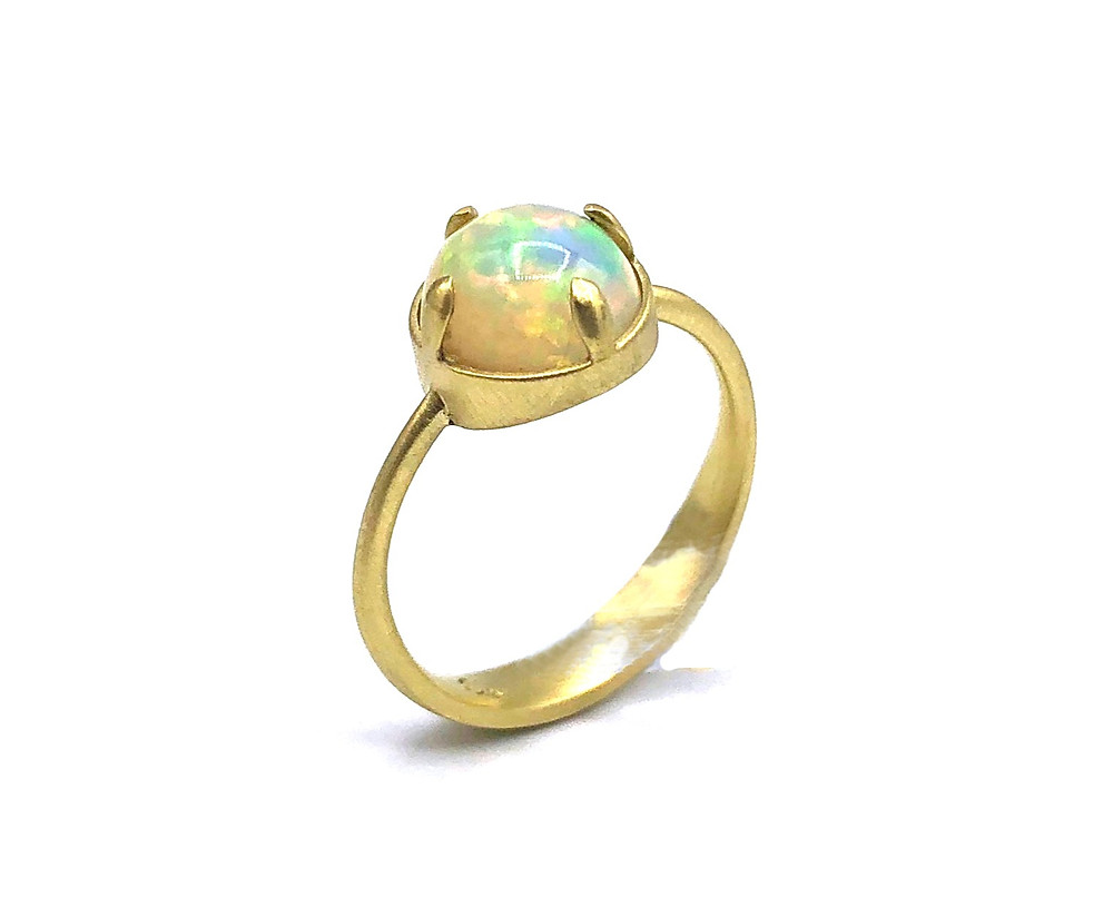 Ethiopian Opal Ring in 18k Recycled Yellow Gold