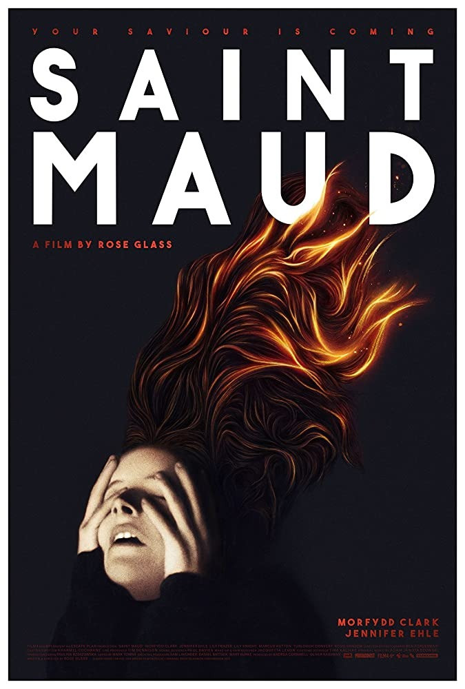 Poster for the film depicting Maud in the throes of possession, vibrant red hair flowing against a black background.