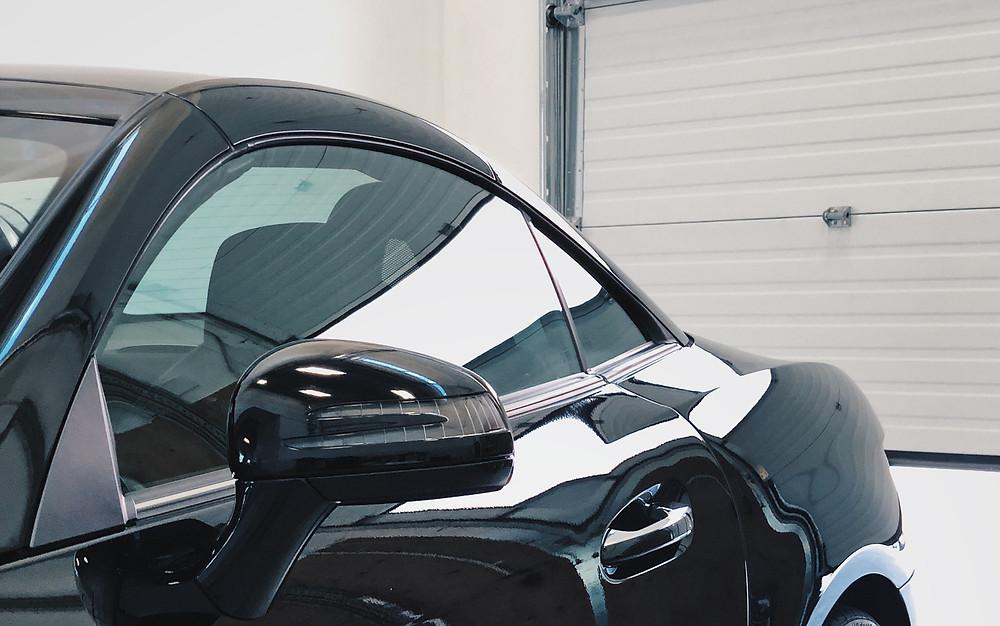 Ceramic coating on black sports car window