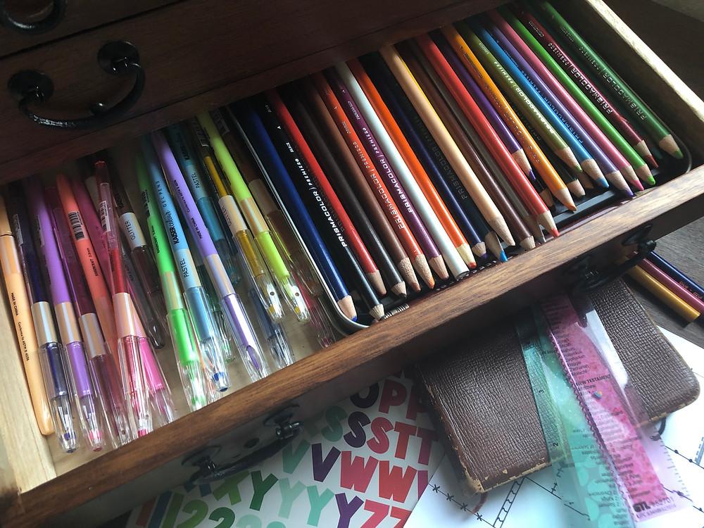 Prismacolor pencils & Kaiser Coulour gel pens