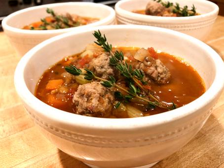 Lentil Soup with Pancetta Meatballs