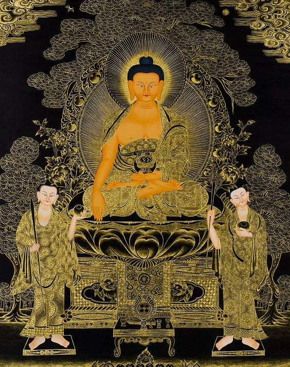 A black background painting with Buddha drawn on it with gold color