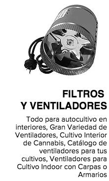 filtros y ventiladores para cultivos interiores