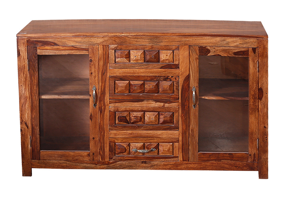 Sheesham wood side board with glass doors and drawers