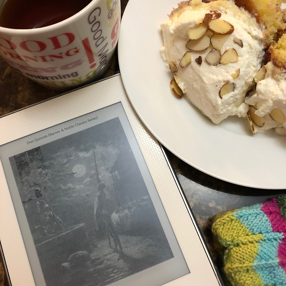My first week of reading was accompanied by coffee, homemade trifle & weaving in the ends on some projects. What did you enjoy while reading?