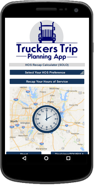 Solo Drivers Hours of Service Recap Calculator