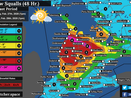 Blizzard Conditions Expected from Snow Squalls; Locally 60cm+