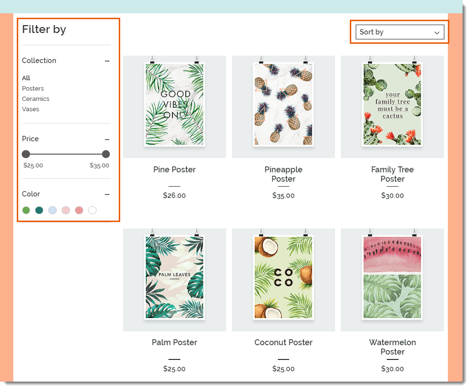 Wix Stores filter by options